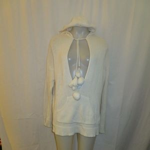 LAROK IVORY HOODED TIE UP SWEATER SZ XS